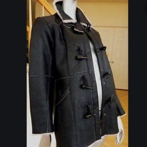 Isabella Bird Black Shearling Coat-Size M
